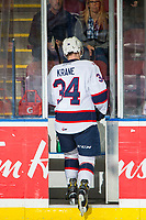 KELOWNA, CANADA - NOVEMBER 21:  Riley Krane #34 of the Regina Pats enters the penalty box against the Kelowna Rockets  on November 21, 2018 at Prospera Place in Kelowna, British Columbia, Canada.  (Photo by Marissa Baecker/Shoot the Breeze)