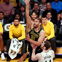 30 March 2018: Los Angeles Lakers center Brook Lopez (11) goes for the jump shot during the Milwaukee Bucks 124-122 victory over the LA Lakers, at the Staples Center, Los Angeles, California, USA.