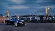 Mercedes-Benz with city skyline.