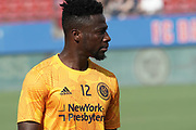 NYCFC Mid Fielder Ebenezer Ofori (12) prepares for the match during a MLS soccer game against FC Dallas, Sunday, Sept. 22, 2019, in Frisco, Tex. FC Dallas and New York FC draw 1-1 (Wayne Gooden/Image of Sport)