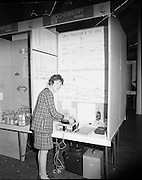 1972.07/01/1972.01/07/1972.7th January 1972.The Aer lingus Young Scientist Exhibition at the RDS, Dublin..Eve O'Kelly, Holy Trinity College, Cork with her entry 'The Biochemistry of Drugs- their uses and abuses' in the Senior Section Biochemistry.