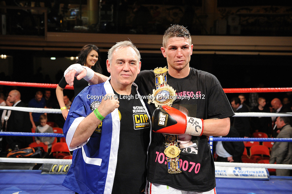 Brian Rose and trainer for the British Light Middleweight Champion at The Winter Gardens, Blackpool on the 31st March 2012. Frank Maloney and Steve Wood VIP Promotions. © Leigh Dawney Photography 2012.