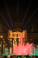 The Fountain Montjuic in front of the National Museum of Art of Catalunya in Barcelona, Spain.