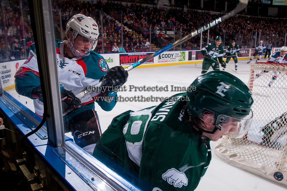 KELOWNA, CANADA - FEBRUARY 2:  Nolan Foote #29 of the Kelowna Rockets back checks Kevin Davis #38 of the Everett Silvertips on FEBRUARY 2, 2018 at Prospera Place in Kelowna, British Columbia, Canada.  (Photo by Marissa Baecker/Shoot the Breeze)  *** Local Caption ***