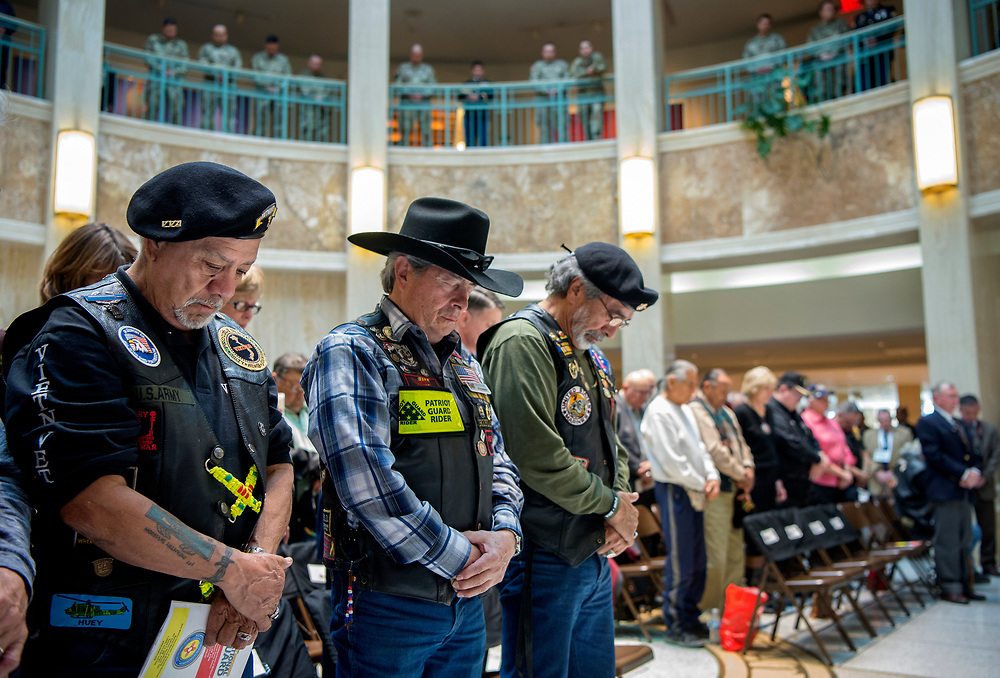 em013118i/a/From left, Henry Griego, from La Madera, Jake Lopez, from Santa Fe, Paul Salas, from Las Vegas, and other Vietnam Veterans were honored during Military Day at the New Mexico Legislature in Santa Fe Wednesday, January 31, 2018. The event sponored by the New Mexico Department of Veterans Services honored all military veterans and active-duty personnel but focused of Vietnam Veterans this year. Lt. Gov. John Sanchez and other spoke at the event. (Eddie Moore/Albuquerque Journal)