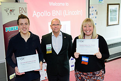 BNI Apollo (Lincoln) chapter president Simon Meadows (Sterling Business Coaching), centre, presents the chapter's latest notable networker certificates to Peter Watson (Distract), left, and Colette Spence (Spence Accounting).  The BNI Apollo chapter meet at Lincoln City's Sincil Bank stadium on Thursday mornings 9.15am - 11am.<br /> <br /> Picture: Chris Vaughan Photography<br /> Date: November 9, 2017