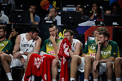 13.09.2014, City Arena, Madrid, ESP, FIBA WM, Frankreich und Litauen, Entscheidungsspiel zwischen Platz 3 und 4, im Bild Lithuania´s players disappointed // during FIBA Basketball World Cup Spain 2014 playoff match place 3 and 4 between France and Lithuania at the City Arena in Madrid, Spain on 2014/09/13. EXPA Pictures © 2014, PhotoCredit: EXPA/ Alterphotos/ Victor Blanco<br /> <br /> *****ATTENTION - OUT of ESP, SUI*****