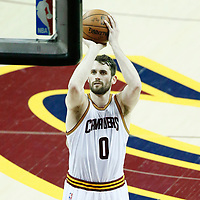 07 June 2017: Cleveland Cavaliers forward Kevin Love (0) is seen at the free throw line during the Golden State Warriors 118-113 victory over the Cleveland Cavaliers, in game 3 of the 2017 NBA Finals, at  the Quicken Loans Arena, Cleveland, Ohio, USA.
