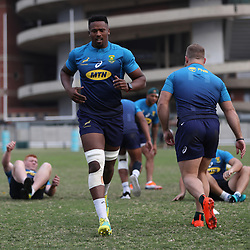 DURBAN, SOUTH AFRICA - AUGUST 13: Sikhumbuzo Notshe during the South African national rugby team training session at  Jonsson Kings Park on August 13, 2018 in Durban, South Africa. (Photo by Steve Haag/Gallo Images)