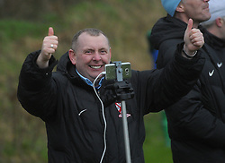 A delighted Kenny Gannon Westport United PRO after the decisive goal is scored during the FAI Junior Cup game against Usher Celtic.<br />