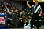 DALLAS, TX - JANUARY 15: South Florida Bulls head coach Stan Heath has words with an official against the SMU Mustangs on January 15, 2014 at Moody Coliseum in Dallas, Texas.  (Photo by Cooper Neill/Getty Images) *** Local Caption *** Stan Heath