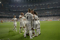 September 19, 2018 - Madrid, Madrid, Spain - Players of Real Madrid celebrate after the first goal during the Group G match of the UEFA Champions League between Real Madrid and AS Roma at Santiago Bernabeu Stadium on September 19, 2018 in Madrid, Spain. (Credit Image: © Patricio Realpe/NurPhoto/ZUMA Press)