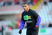 Reuben Reid (33) of Exeter City warming up wearing a Kick It Out T-Shirt before the EFL Sky Bet League 2 match between Exeter City and Luton Town at St James' Park, Exeter, England on 26 November 2016. Photo by Graham Hunt.