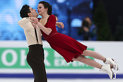 January 20, 2018 - Moscow, Russia - Anna Cappellini and Luca Lanotte of Italy perform during an ice dance free dance event at the 2018 ISU European Figure Skating Championships, at Megasport Arena in Moscow, on January 20, 2018. (Credit Image: © Igor Russak/NurPhoto via ZUMA Press)