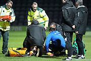 Kjell Knops is treated after sustaining a serious knee injury during the EFL Sky Bet League 1 match between Rochdale and Port Vale at Spotland, Rochdale, England on 28 February 2017. Photo by Daniel Youngs.