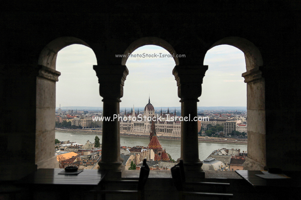 View of the Danube river and the Hungarian Parliament as seen from the castle hill, Budapest, Hungary,