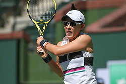 March 7, 2019 - Indian Wells, CA, U.S. - INDIAN WELLS, CA - MARCH 07: Saisai Zheng (CHN) hits a backhand during the BNP Paribas Open on March 7, 2019 at Indian Wells Tennis Garden in Indian Wells, CA. (Photo by George Walker/Icon Sportswire) (Credit Image: © George Walker/Icon SMI via ZUMA Press)