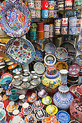 Hand-painted ceramics bowls vases cups in The Grand Bazaar, Kapalicarsi, great market, Beyazi, Istanbul, Republic of Turkey
