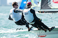 Miami - January 29, 2015.  Brad Funk and Trevor Burd approach the windward markin the 49er fleet during the 2015 ISAF Sailing World Cup.  Team Funky Burd, as they are known, finished 7th overall in a fleet of 40 boats.