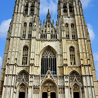 Cathedral of St. Michael and St. Gudula Façade in Brussels, Belgium<br />