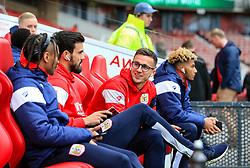 Joe Bryan of Bristol City chats with teammates on arrival at the Riverside Stadium - Mandatory by-line: Matt McNulty/JMP - 14/04/2018 - FOOTBALL - Riverside Stadium - Middlesbrough, England - Middlesbrough v Bristol City - Sky Bet Championship