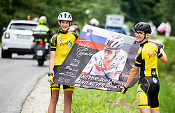 Supporters of Tadej Pogacar during 1st Stage of 26th Tour of Slovenia 2019 cycling race between Ljubljana and Rogaska Slatina (171 km), on June 19, 2019 in  Slovenia. Photo by Vid Ponikvar / Sportida
