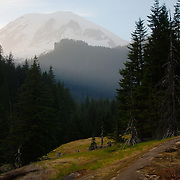 trailside view of Mount Rainier illuminated by sunset - Mt Rainier National Park, WA