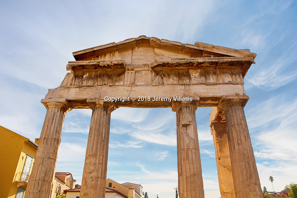 The Gate of Athena Archegetis, the entrance to the Roman Agora in Athens, Greece. Built in the first century BC, the Roman Agora served as the new commercial center of Athens when it became part of the Roman Empire.
