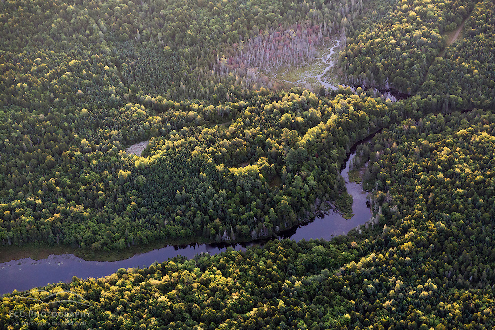 Finn Brook in the Reed Plantation from the air above Reed, Maine.