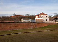 View to a Hotel Penzion from the Terezin grounds. Showing part of one of the big walls that surround the Concentration camp.