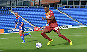 Devante Cole scores Bradford City's second during the Sky Bet League 1 match between Oldham Athletic and Bradford City at Boundary Park, Oldham, England on 5 September 2015. Photo by Mark Pollitt.