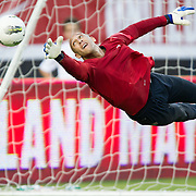 May 26 2012: USA's Tim Howard (1) dives to save a ball during pre game of the U.S. Men's National Soccer Team game against Scotland at Everbank Field in Jacksonville, FL. At halftime USA lead Scotland 2-1.