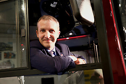 Michael Matheson, the Scottish Transport and Infrastructure Secretary in the cab of a new bus built by Alexander Dennis of Falkirk. pic copyright Terry Murden @edinburghelitemedia
