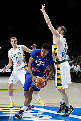 13.09.2014, City Arena, Madrid, ESP, FIBA WM, Frankreich und Litauen, Entscheidungsspiel zwischen Platz 3 und 4, im Bild France´s Kahudi (C) and Lithuania´s Seibutis and Pocius // during FIBA Basketball World Cup Spain 2014 playoff match place 3 and 4 between France and Lithuania at the City Arena in Madrid, Spain on 2014/09/13. EXPA Pictures © 2014, PhotoCredit: EXPA/ Alterphotos/ Victor Blanco<br /> <br /> *****ATTENTION - OUT of ESP, SUI*****