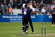 Matt Taylor celebrates taking the wicket of  Paul Stirling during the NatWest T20 Blast South Group match between Gloucestershire County Cricket Club and Middlesex County Cricket Club at the Bristol County Ground, Bristol, United Kingdom on 15 May 2015. Photo by Alan Franklin.