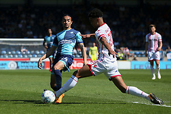 Randell Williams of Wycombe Wanderers is tackled by Terence Vancooten of Stevenage - Mandatory by-line: Jason Brown/JMP - 05/05/2018 - FOOTBALL - Adam's Park - High Wycombe, England - Wycombe Wanderers v Stevenage - Sky Bet League Two
