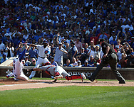 September 15, 2017 - Chicago, IL, USA - The Chicago Cubs' Anthony Rizzo (44) is tagged out at home plate by St. Louis Cardinals catcher Yadier Molina in the fourth inning at Wrigley Field in Chicago on Friday, Sept. 15, 2017. The Cubs won, 8-2. (Credit Image: © Terrence Antonio James/TNS via ZUMA Wire)