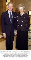 PRINCESS ALEXANDRA and her husband SIR ANGUS OGILVY, at a reception in London on 25th September 2001.OSP 104