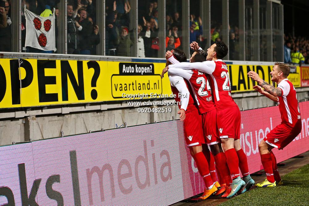 ALKMAAR - 29-11-2014 - Cambuur - AZ,  Cambuur Stadion, 0-2, AZ speler Nemanja Gudelj (l) viert het doelpunt met de supporters, AZ speler Mattias Johansson (r), AZ speler Thom Haye (2vr), AZ speler Ridgeciano Haps (2vl).
