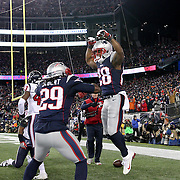 FOXBOROUGH, MASSACHUSETTS - JANUARY 14:  Running back James White #28 of the New England Patriots scores celebrates a touchdown with team mate running back LeGarrette Blount #29 of the New England Patriots during the Houston Texans Vs New England Patriots Divisional round game during the NFL play-offs on January 14th, 2017 at Gillette Stadium, Foxborough, Massachusetts. (Photo by Tim Clayton/Corbis via Getty Images)