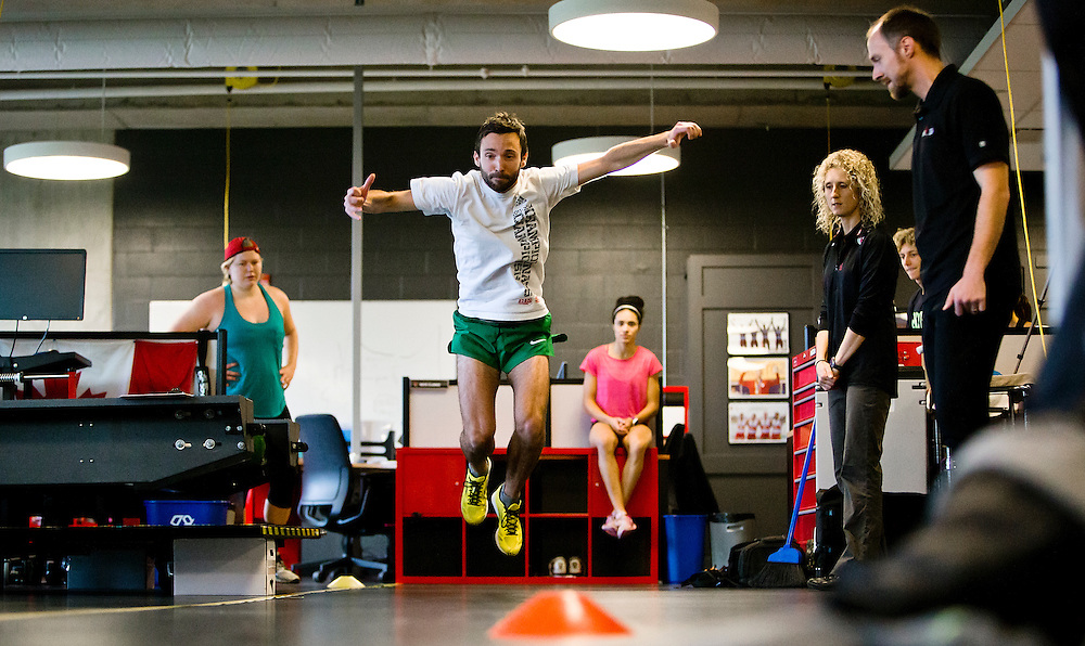 Guillaume Ouellet does a two legged triple broad jump for distance which highly correlates to sprint speed at the Pacific Institute for Sport Excellence on December 3rd, 2015 in Victoria, British Columbia Canada.