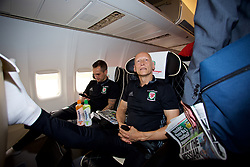 CARDIFF, WALES - Monday, September 4, 2017: Wales' Chris Senior and Paul Harris boards the team plane as the squad depart Cardiff Airport to travel to Chișinău ahead of the 2018 FIFA World Cup Qualifying Group D match against Moldova. (Pic by David Rawcliffe/Propaganda)