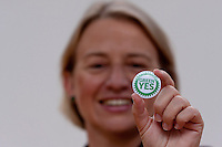 Natalie Bennett holding a Yes Green magnetic.<br /> Green Leader in England Campaigns for Scottish Independence. Natalie Bennett, who leads the Greens in England and Wales join Scottish convener Patrick Harvie a head of the independence referendum at Out of the Blue Drill Hall in Edinburgh.<br /> Pako Mera/Universal News And Sport (Europe) 02/09/2014