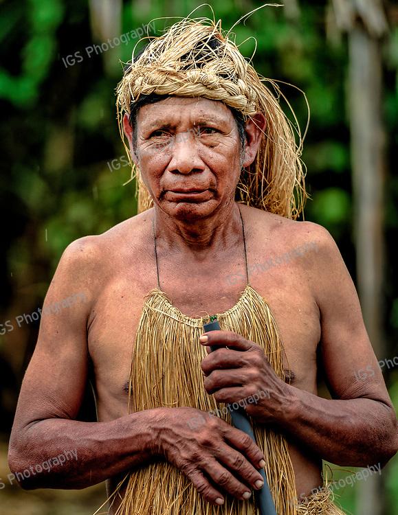 Yagua Indian man in the Peruvian Amazon Rainforest