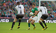 Wembley, Great Britain, Loose ball, Jared PAYNE, contests with left Valentin CALAFETEANU and right Viorel LUCACI, during the Pool D Game, Ireland vs Romania.  2015 Rugby World Cup, Venue, Wembley Stadium, London, ENGLAND.  Sunday  27/09/2015 <br /> <br /> Mandatory Credit; Peter Spurrier/Intersport-images]