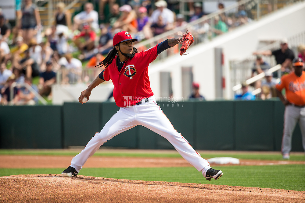 FORT MYERS, FL- MARCH 05: Ervin Santana #54 of the Minnesota Twins pitches against the Baltimore Orioles during a spring training game on March 5, 2016 at Hammond Stadium in Fort Myers, Florida. (Photo by Brace Hemmelgarn) *** Local Caption *** Ervin Santana