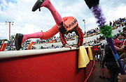 BEA AHBECK/NEWS-SENTINEL<br /> A brega jumps into the ring during the bloodless bullfight during the Our Lady of Fatima Portuguese Festival in Thornton Saturday, Oct. 15, 2016.