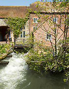 Former water mill and mill-stream, River Avon, town centre of Salisbury, Wiltshire, England, UK