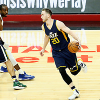 15 April 2017: Utah Jazz forward Gordon Hayward (20) drives past LA Clippers forward Luc Mbah a Moute (12) on a screen set by Utah Jazz center Boris Diaw (33) during the Utah Jazz 97-95 victory over the Los Angeles Clippers, during game 1 of the first round of the Western Conference playoffs, at the Staples Center, Los Angeles, California, USA.