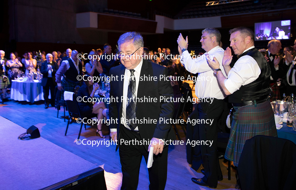 St Johnstone FC Hall of Fame Dinner, Perth Concert Hall….23.03.19<br />Benny Rooney makes his way to the stage to talk about his former team mate Bill 'Buck' McCarry who was inducted into the Hall of Fame this year<br />Copyright Perthshire Picture Agency<br />Tel: 01738 623350  Mobile: 07990 594431